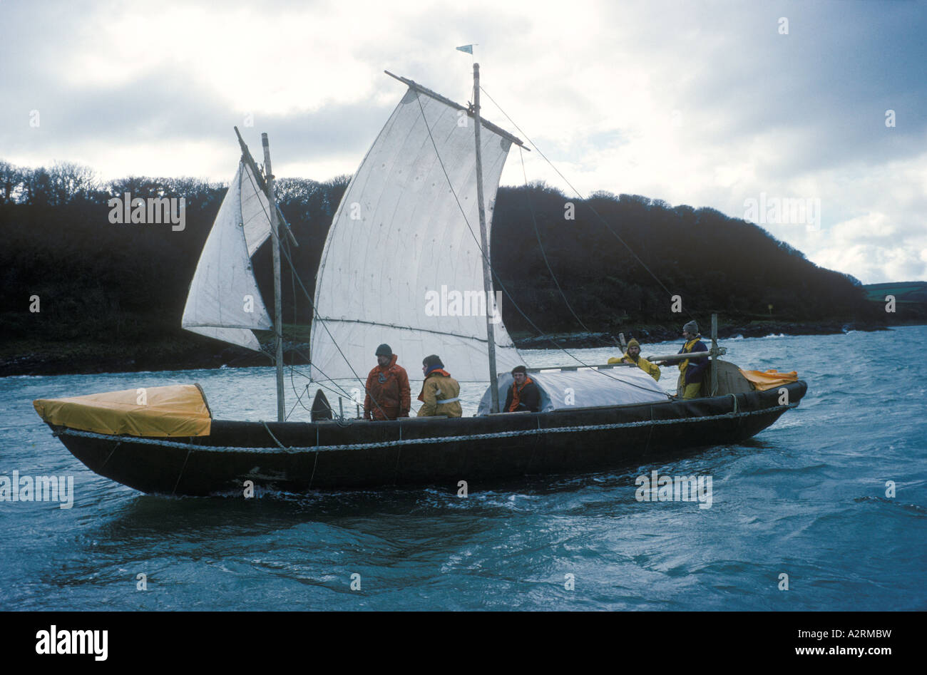 Tim Severin The Voyage of Brendan the Navigator 1976 sailed to North America in a leather boat. Sea trials southern - Stock Image