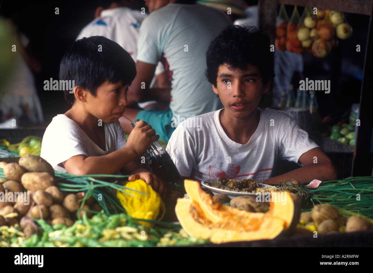 Manaus Brazil South America Kids eating in a cafe - Stock Image