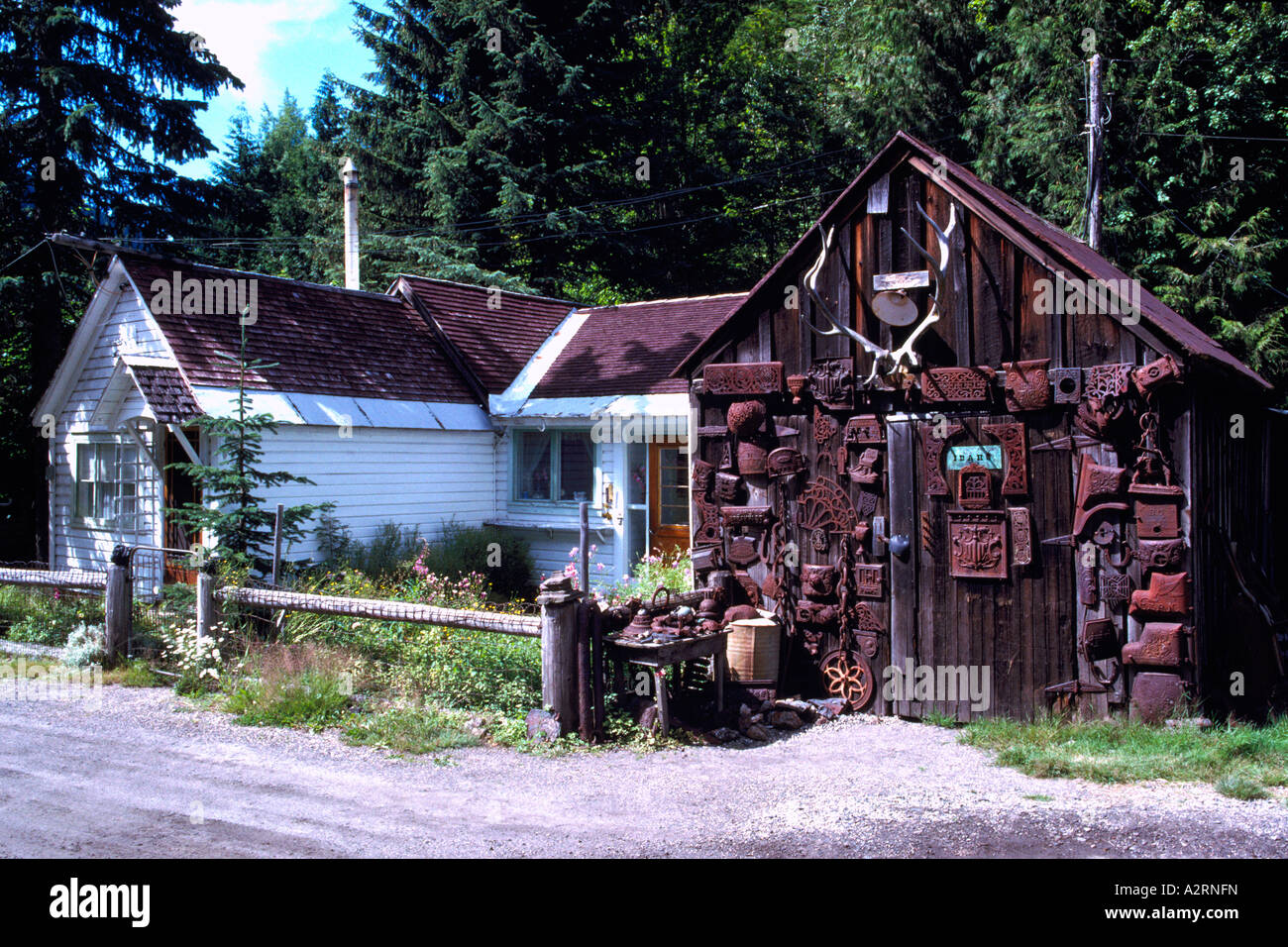 Sandon, BC, British Columbia, Canada   Old House And Storage Shed In  Historic U0027Silver Rushu0027 Mining Ghost Town, Kootenay Region