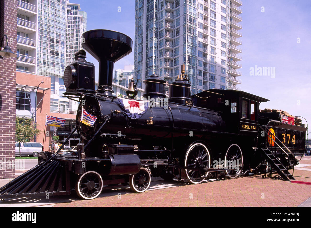 Historic CPR Engine 374 restored and located at the Roundhouse in Downtown Vancouver British Columbia Canada Stock Photo