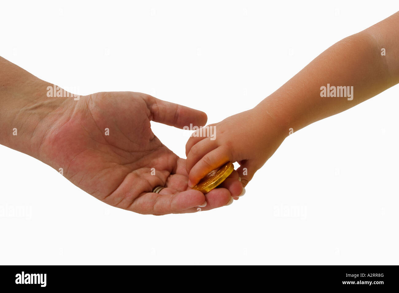 mother with her child exchanging money hands only models released