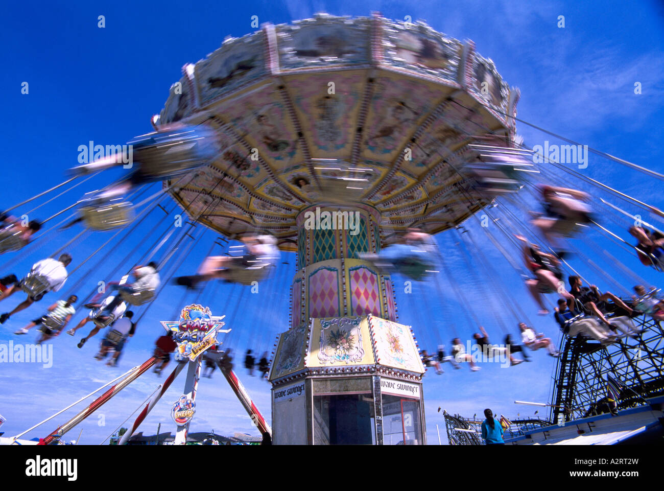 'Wave Swinger' Amusement Park Ride at Playland, Pacific National Exhibition (PNE), Vancouver, BC, British Columbia, Stock Photo