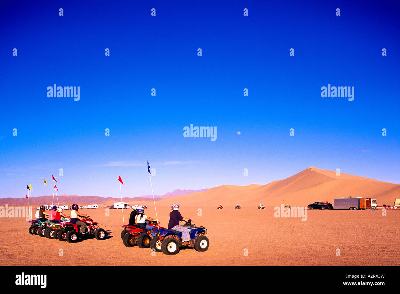 All-Terrain Vehicles and Dune Buggies at the Dumont Sand Dunes near Death Valley National Park California USA - Stock Image