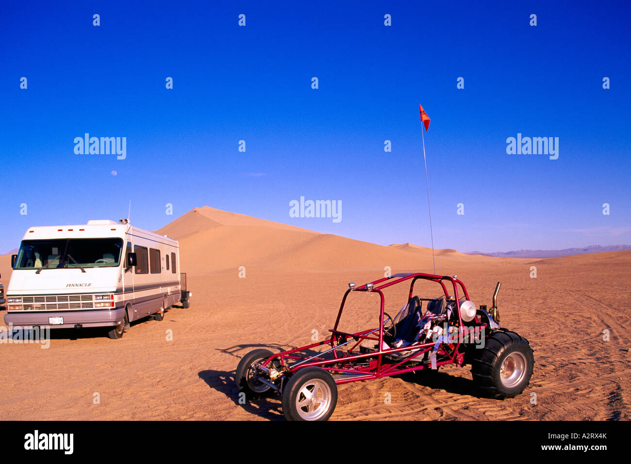 Dune Buggy and Recreational Vehicle at the Dumont Sand Dunes near Death Valley National Park California USA - Stock Image