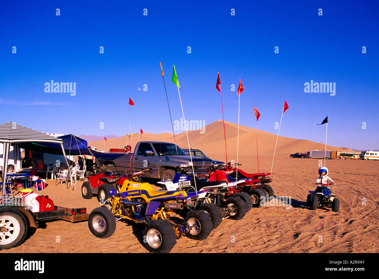 All-Terrain Vehicles at Camp at the Dumont Sand Dunes near Death Valley National Park California USA - Stock Image