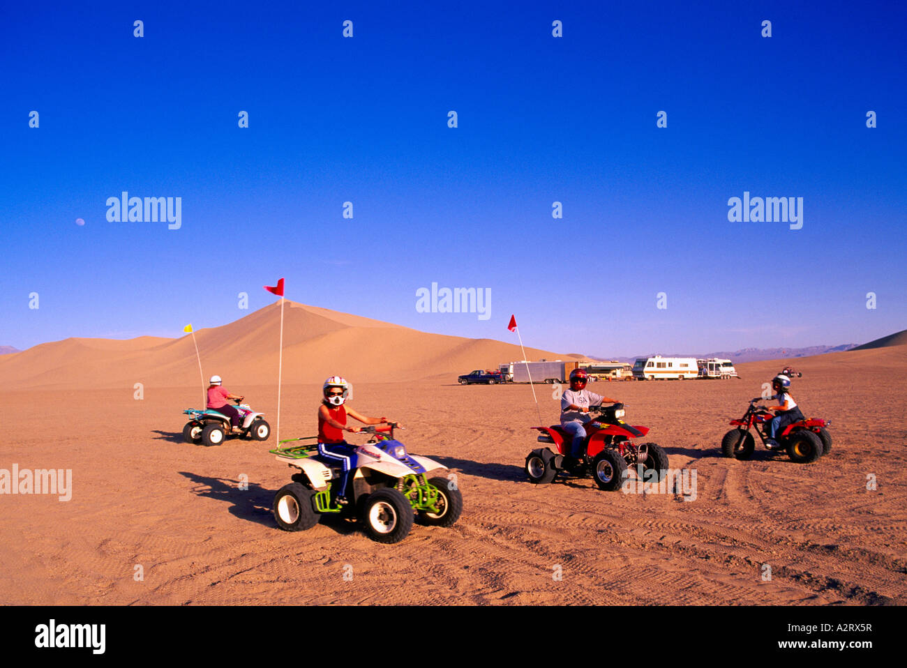All-Terrain Vehicles at the Dumont Sand Dunes near Death Valley National Park California USA - Stock Image