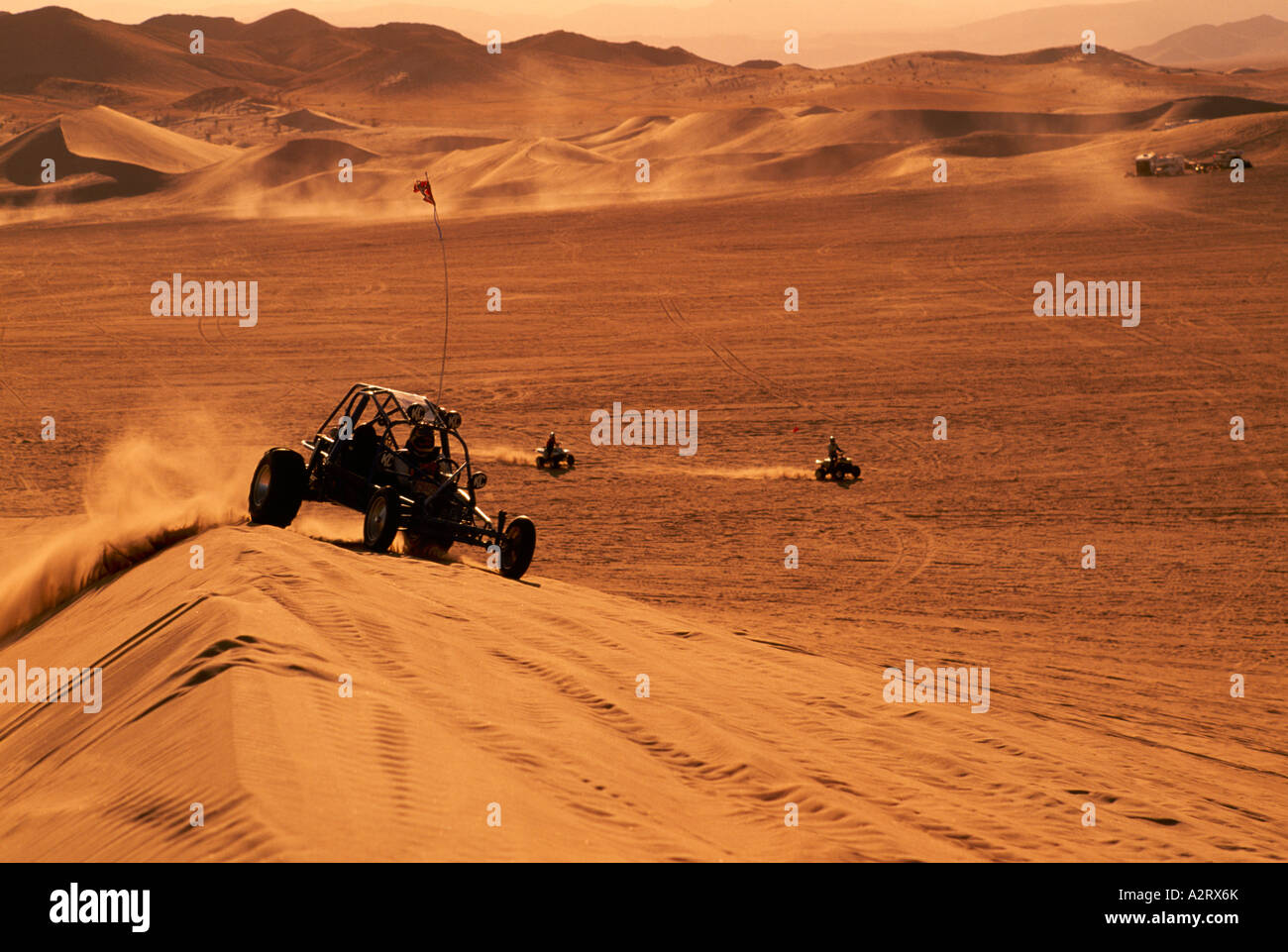 Dune Buggy and All-Terrain Vehicles at the Dumont Sand Dunes near Death Valley National Park California USA - Stock Image