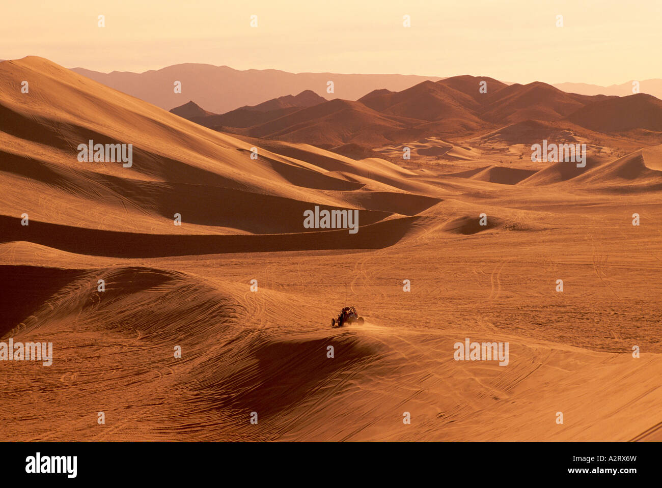 Dune Buggy at the Dumont Sand Dunes near Death Valley National Park California USA - Stock Image