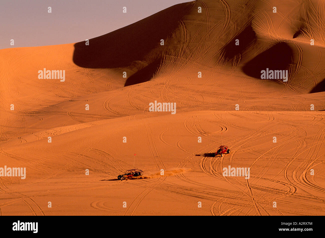 Dune Buggies at the Dumont Sand Dunes near Death Valley National Park California USA - Stock Image