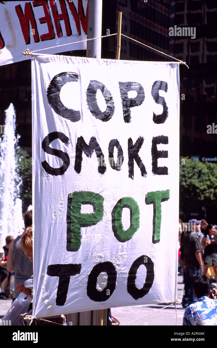 Cannabis Day Rally, Vancouver, BC, British Columbia, Canada - Sign at Legalize Marijuana / Pot Use Demonstration Stock Photo