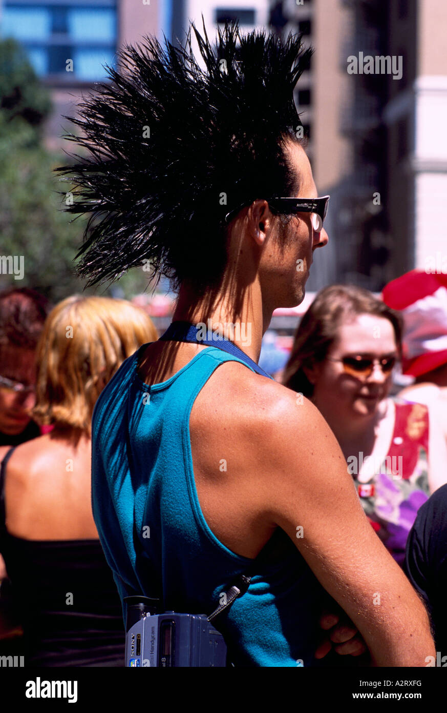 Young Man With Mohawk Haircut At Cannabis Day Rally Vancouver Bc