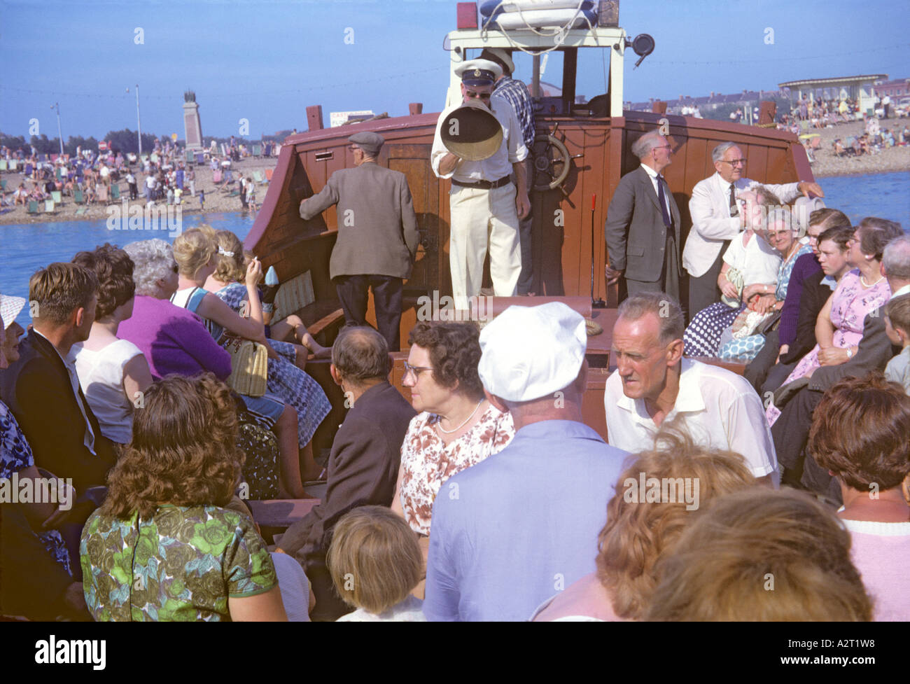'^Holidaymakers on a boat trip, ^1960, 'The Solent', Portsmouth' - Stock Image