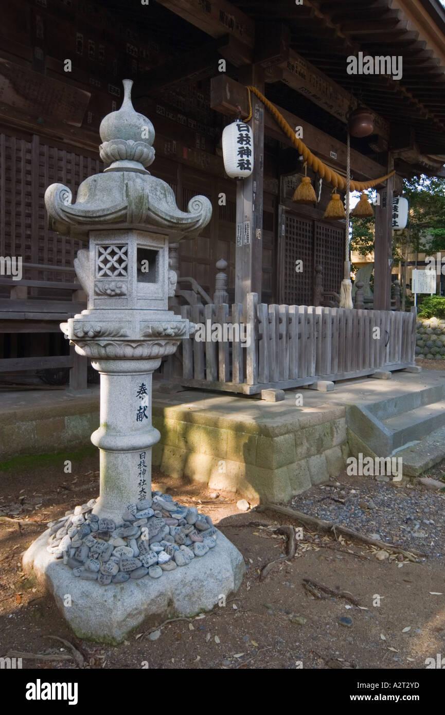 Stone lantern at Hiei jinja shrine Shuzenji Izu Peninsula Shizuoka Prefecture JapanStock Photo
