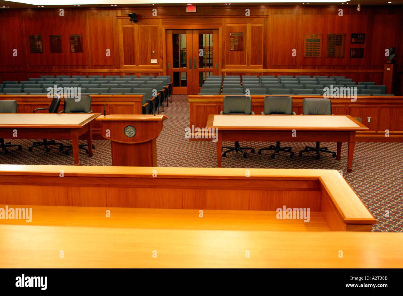 Inside of Courtroom Boston Massachusetts - Stock Image
