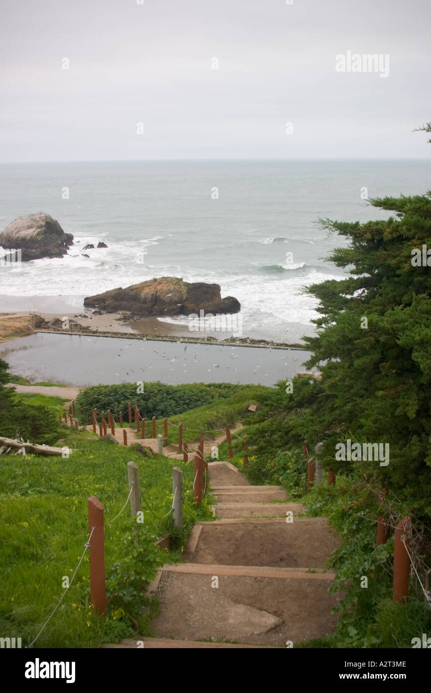 Stairs leading down to the ruins of Sutro Bath Golden Gate National Recreation Area San Francisco CaliforniaStock Photo