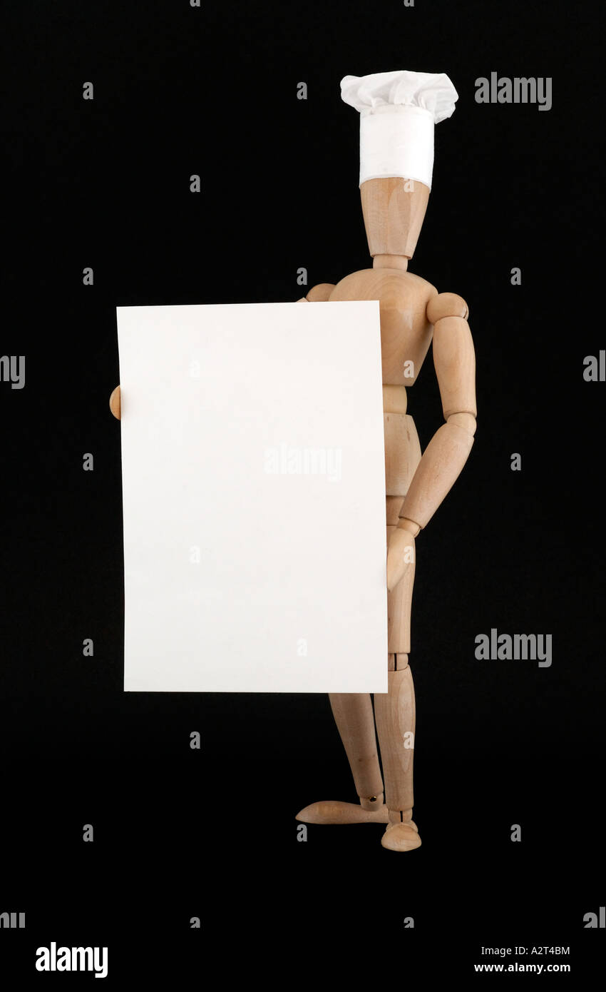 croquis doll chef holding a blank menu card