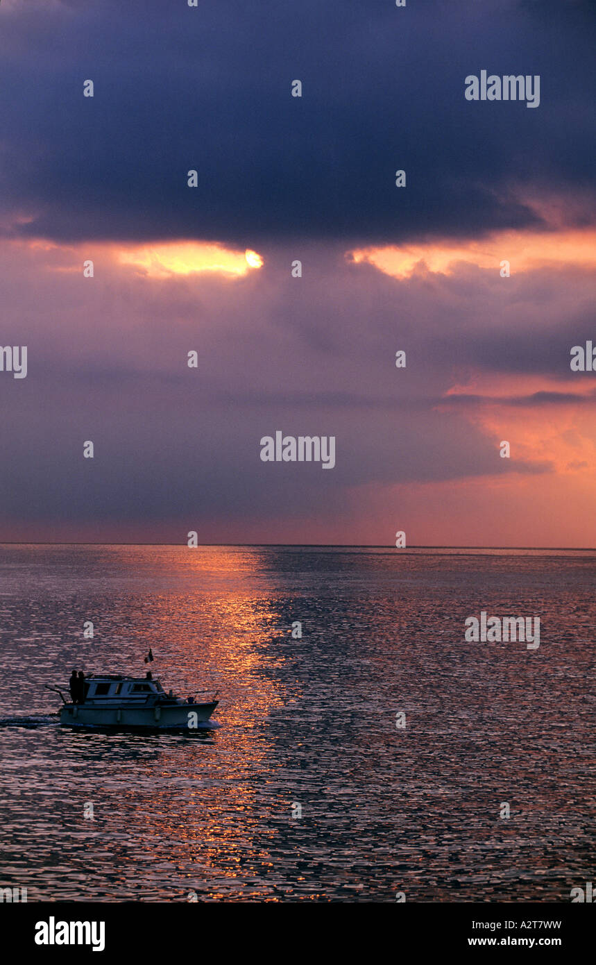 France Var casting off to go fishing at sun rise Stock Photo