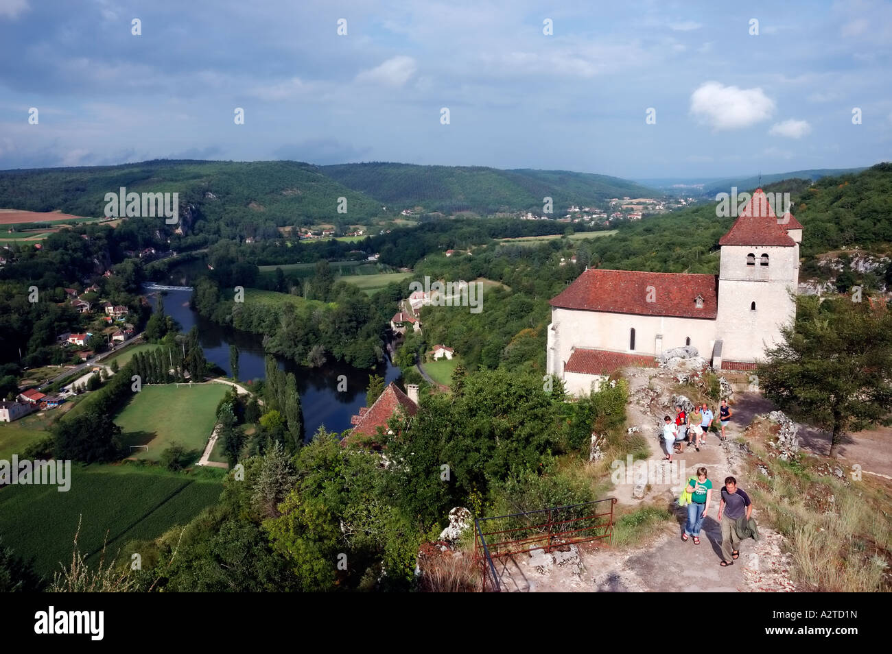 Saint Cirq Lapopie, Lot region, France, panoramic view on lot valley with church Stock Photo