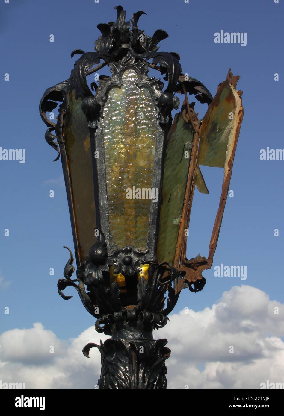 Old broken lamp, detail - Stock Image