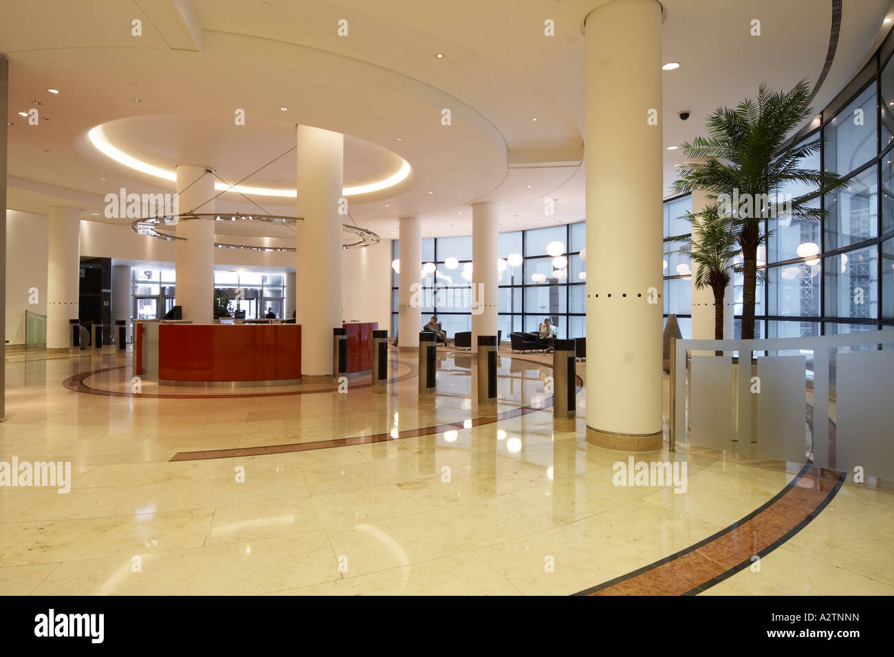 99 Bishopsgate Commercial Office Building Marble Reception Lobby With People City Of London EC2 England UK