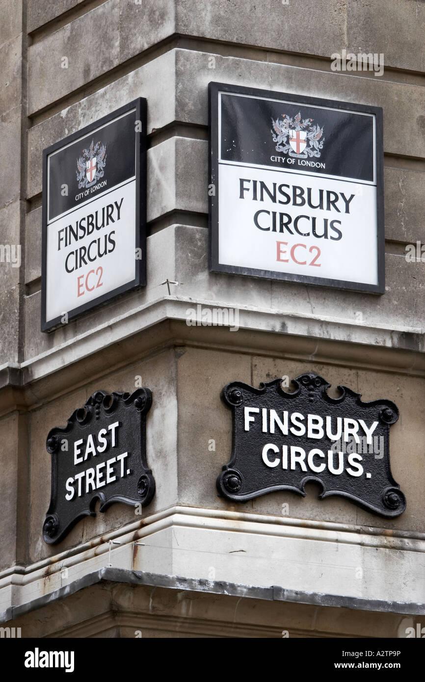 Finsbury Circus Street signs City of London EC2 England UK - Stock Image