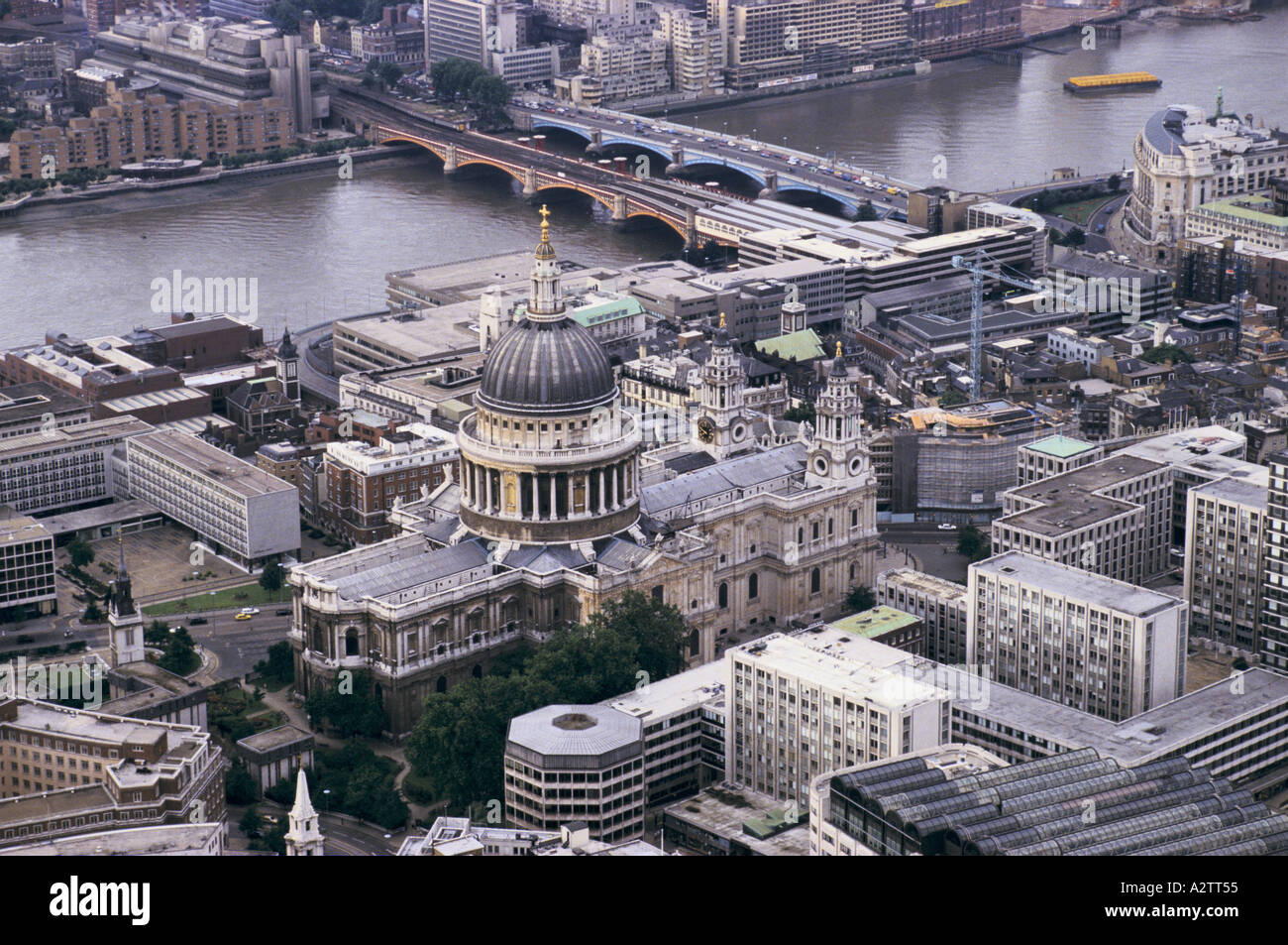 aerial view of St Pauls cathedral and the river Thames - Stock Image