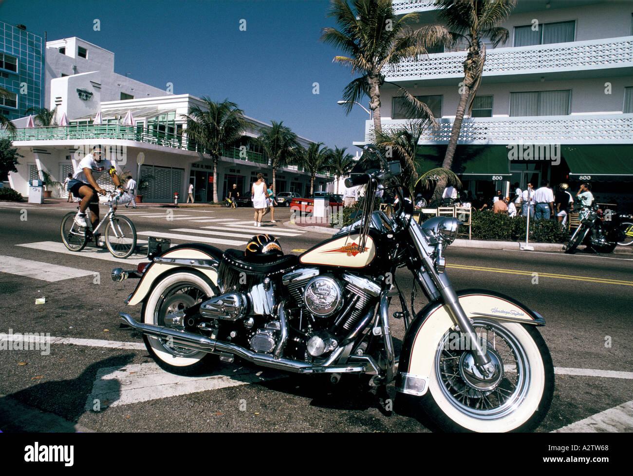 harley davidson ocean drive miami beach florida Stock Photo: 3459431