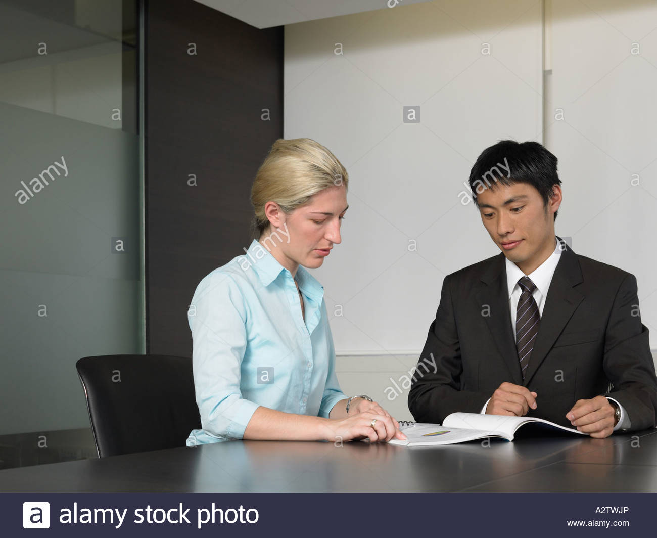 Two colleagues reading textbook - Stock Image