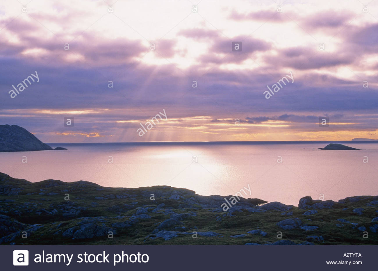 Sunrise over the Minch in the Hebrides Stock Photo