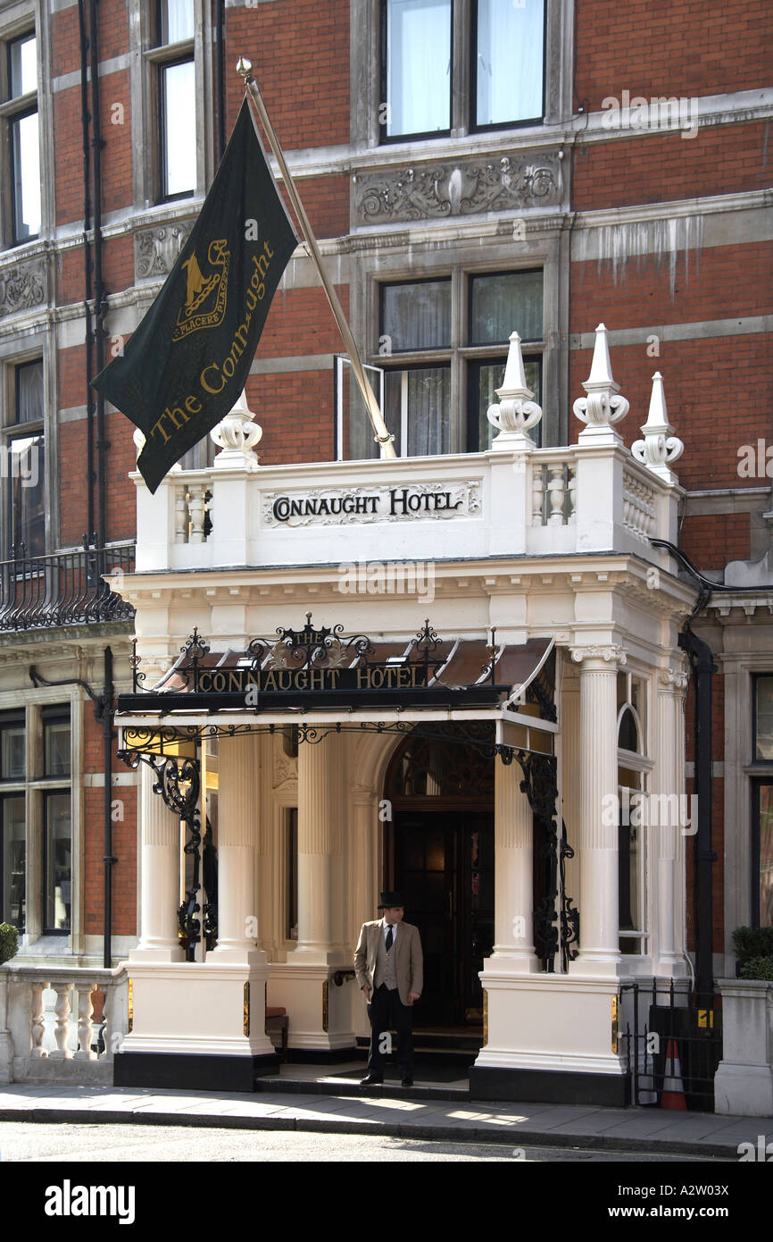 Doorman outside the Connaught Hotel in Mayfair London W1 England - Stock Image