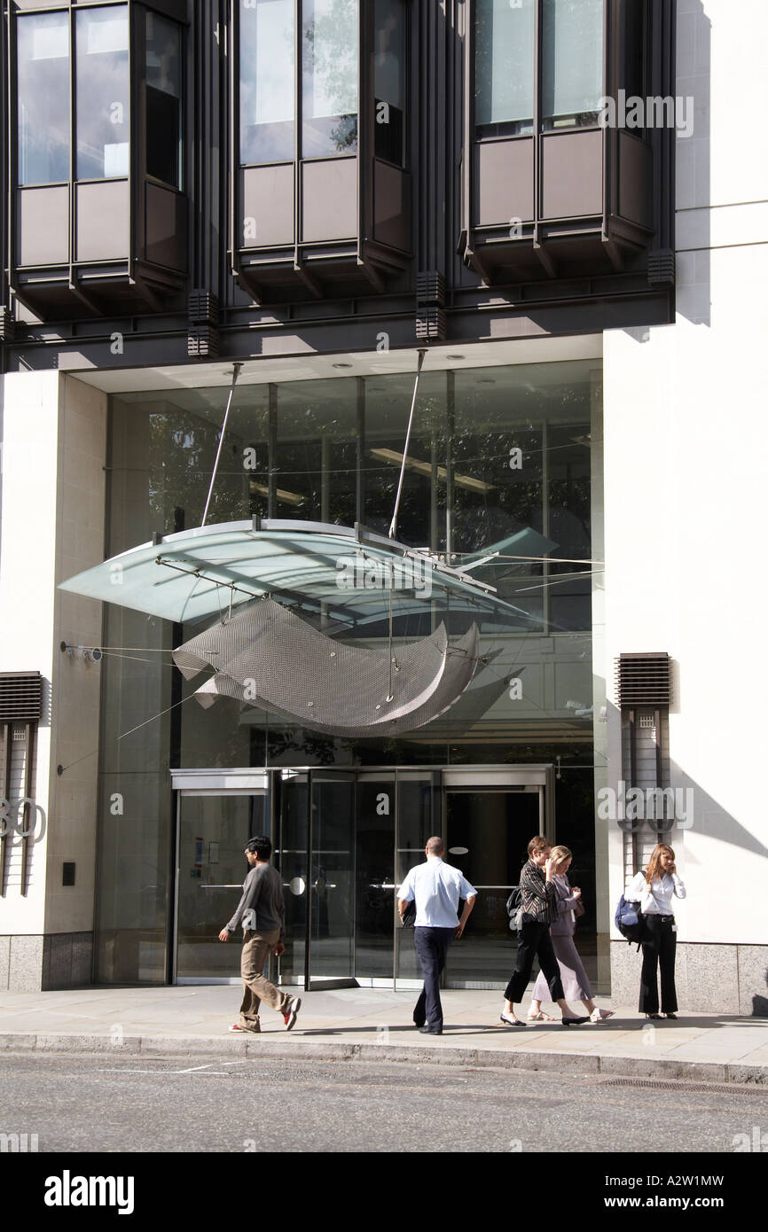 Decorative architectural sculptural entrance doorway canopy on 30 Berkeley Square with people in Mayfair London W1 England & Decorative architectural sculptural entrance doorway canopy on 30 ...