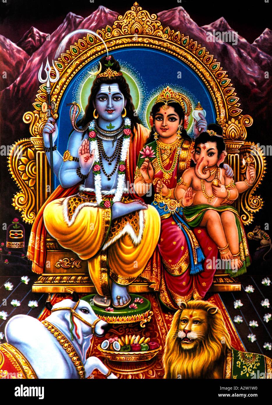 Shiva Family Hindu Gods Shiva Pavarti and Ganesh Stock Photo