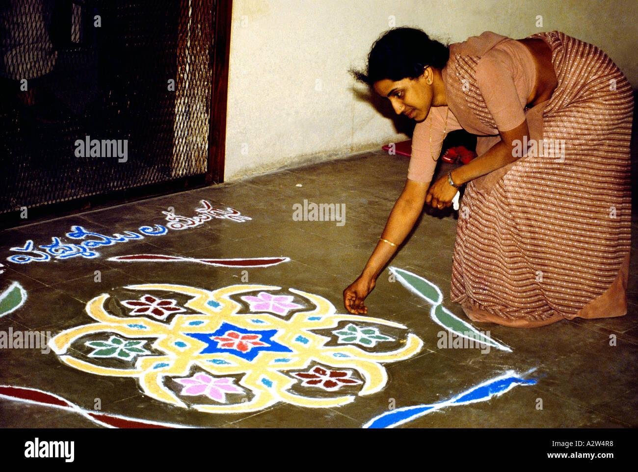 India Woman & Rangoli Pattern Stock Photo
