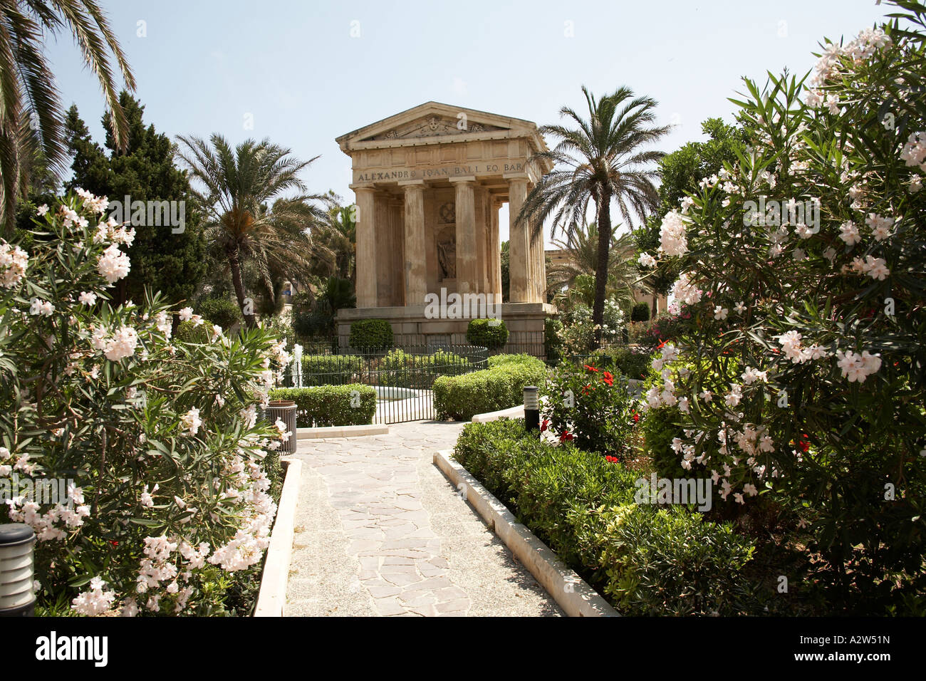 Lower Barracca Gardens with flowers in Valetta capital city of Stock ...