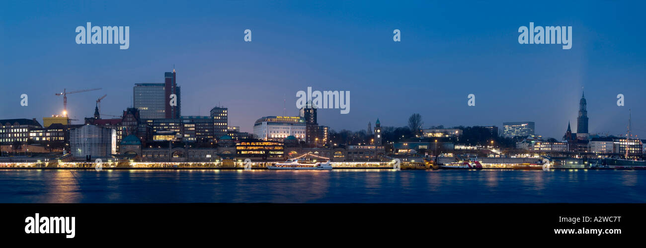 Landmark of Hamburg, Germany, Europe Panorama Landungsbrücken - Stock Image
