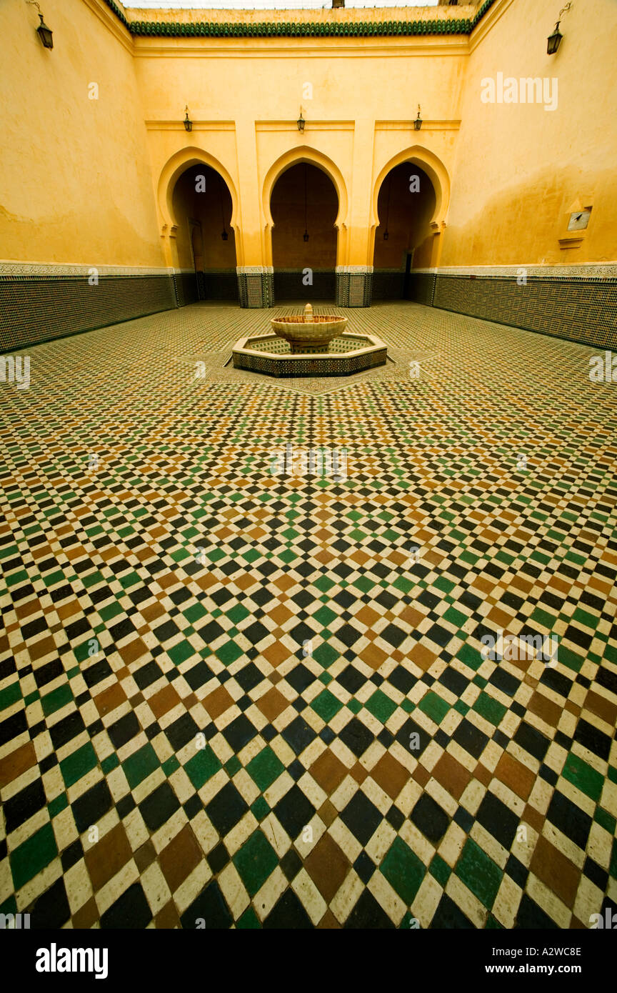 Antiquities Arched doorways and intricate tile work of the Mausoleum of Moulay Ismail Town of Meknes Morocco Stock Photo