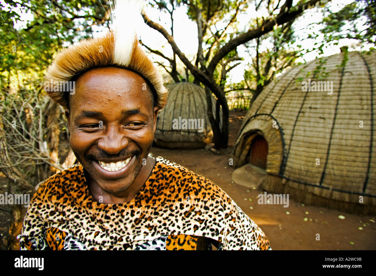 People Zulu man in traditional dress Model released Lesedi Cultural Village near Johannesburg South Africa - Stock Image