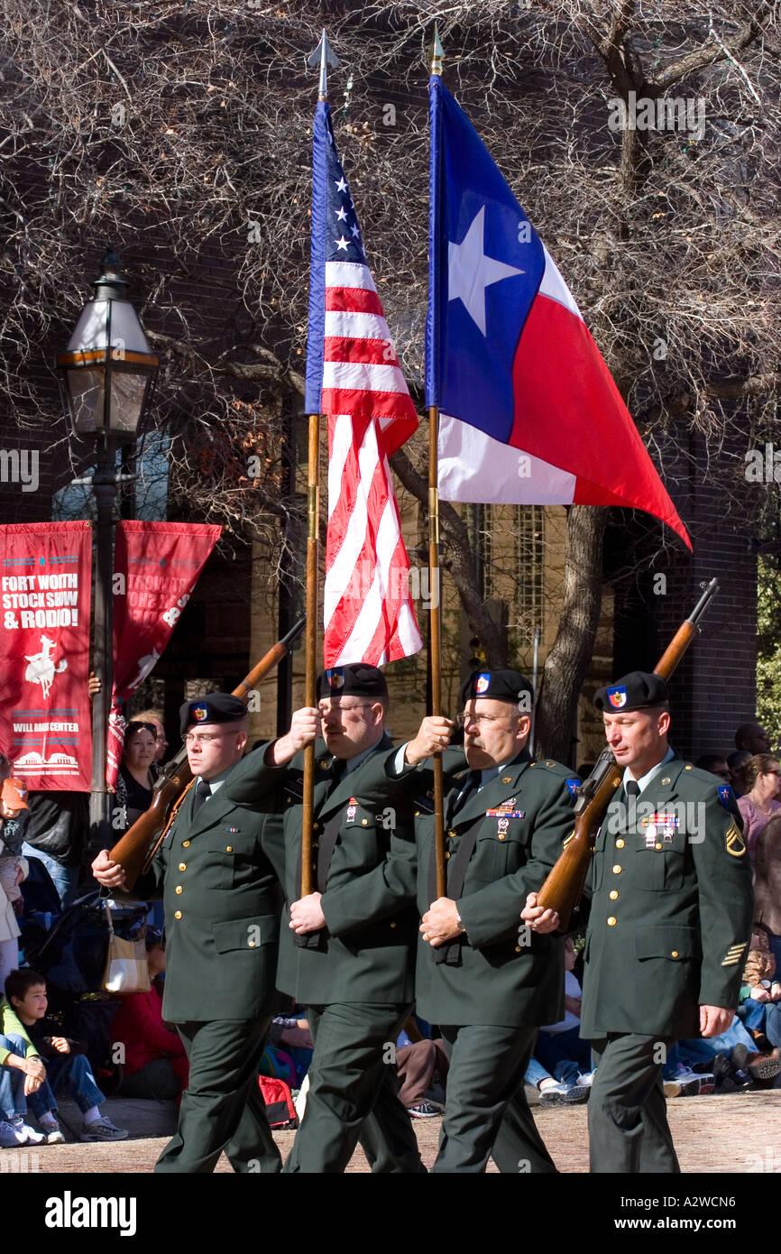 Military Color Guard Carries the USA and Texas Flags, Fort Worth