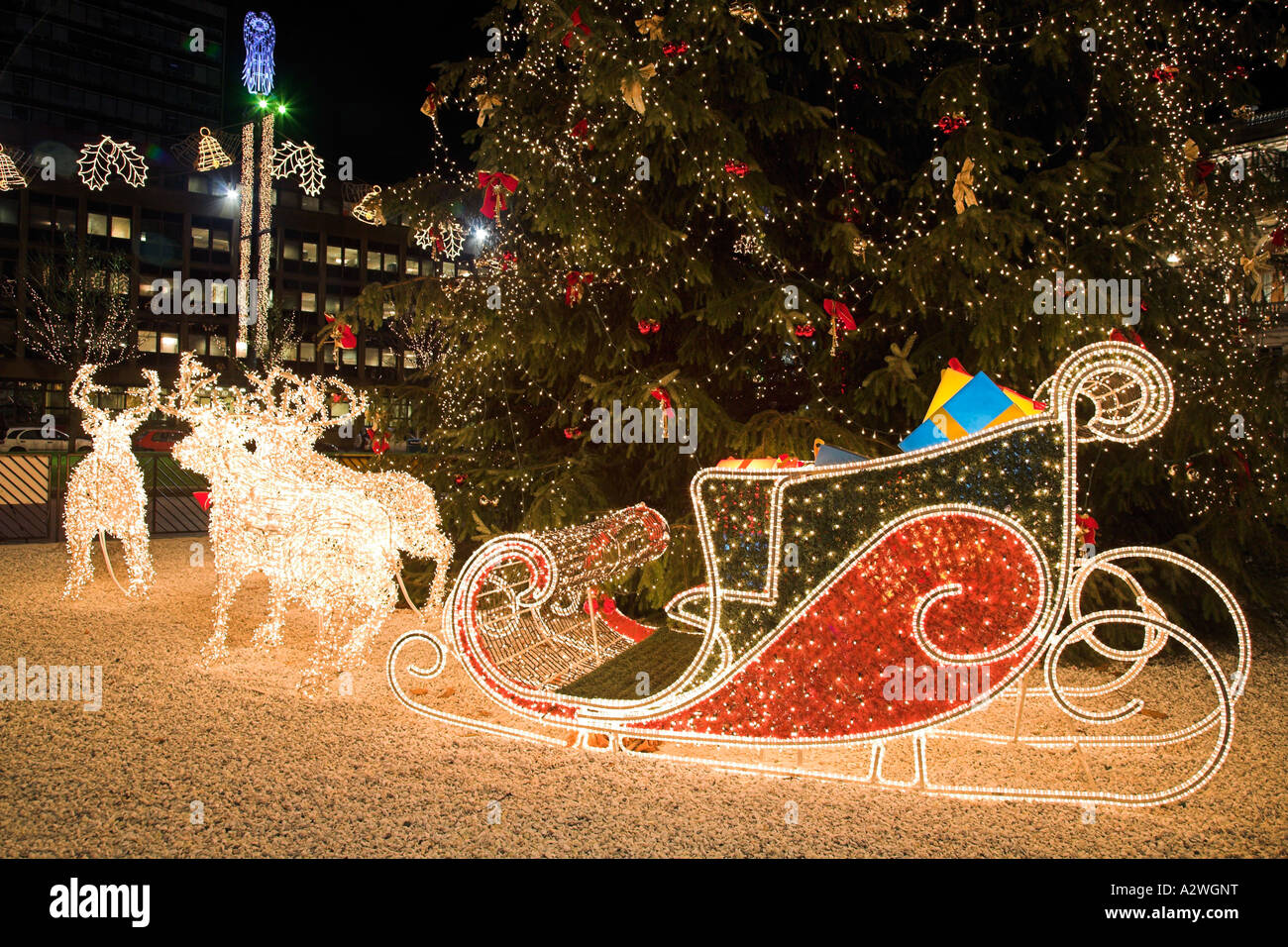 Weihnachtsbeleuchtung Schlitten.Reindeer And Sleigh Christmas Lights In George Square Glasgow Stock