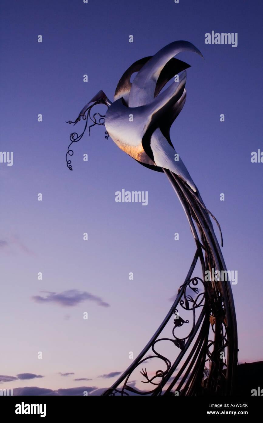 The Viking longboat sculpture at Largs marina - Stock Image