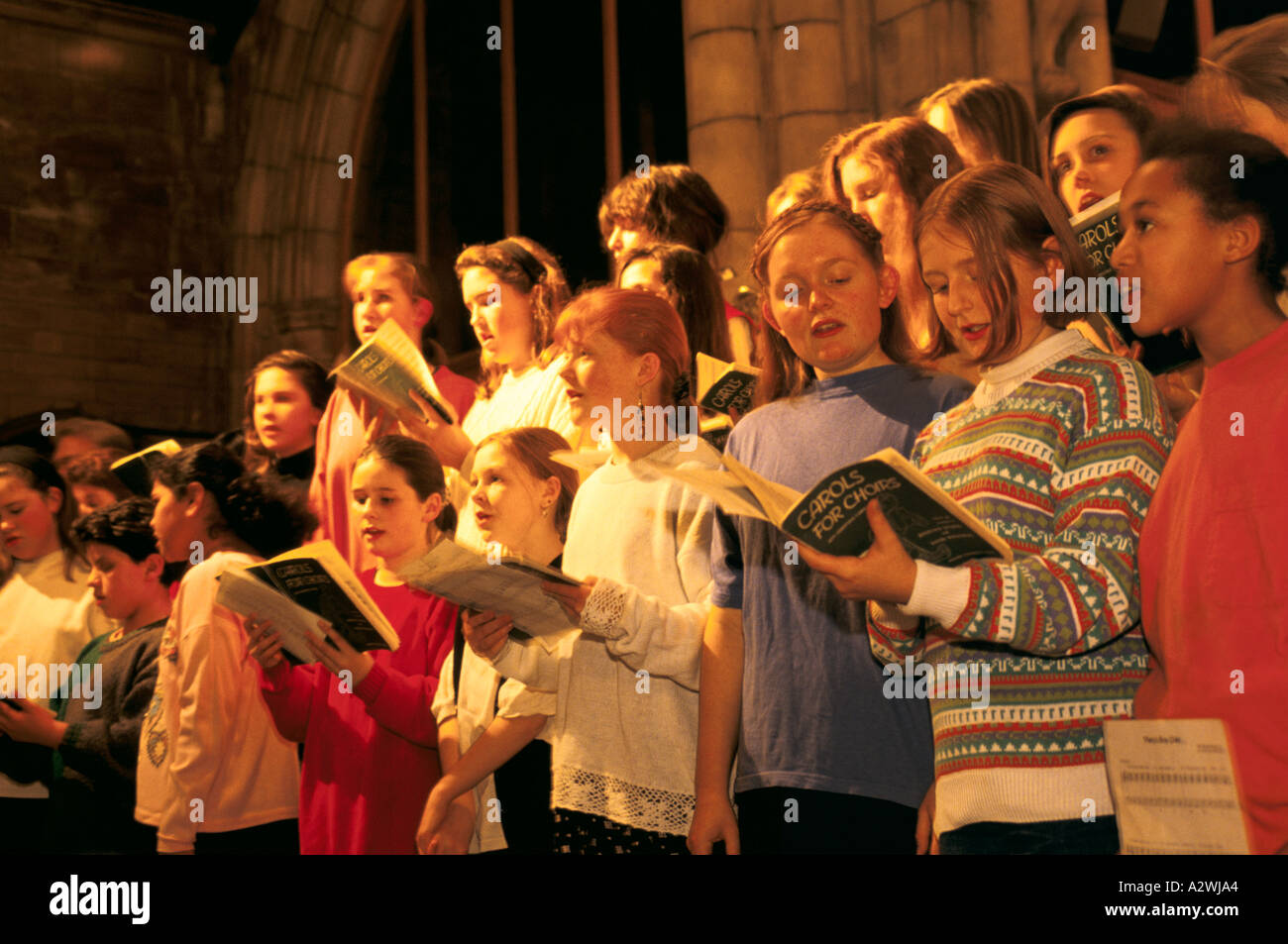 secondary school choir at muswell hill church haringey - Stock Image