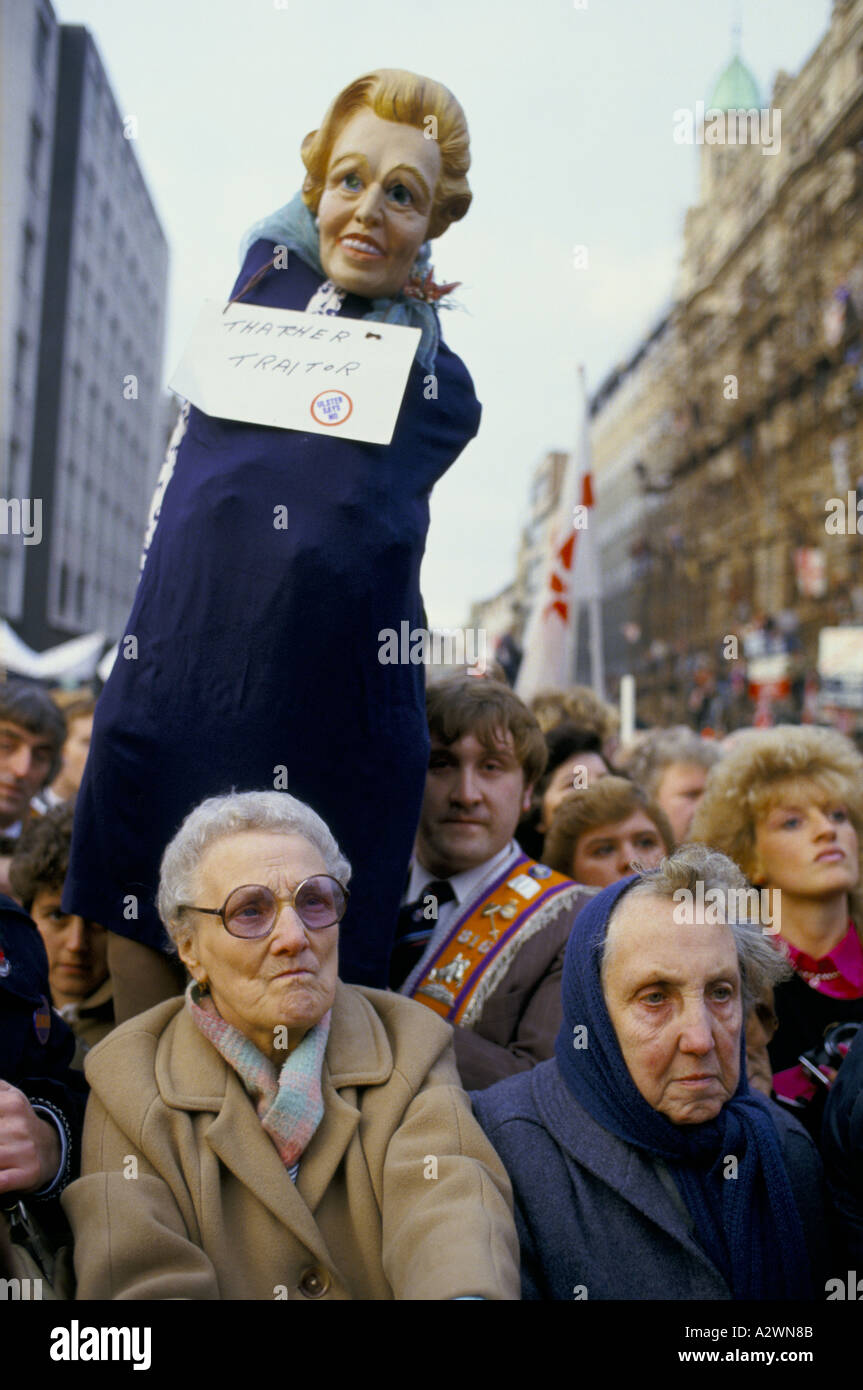 An effigy of Margaret Thatcher in a protest in Belfast against the Anglo Irish Agreement. - Stock Image