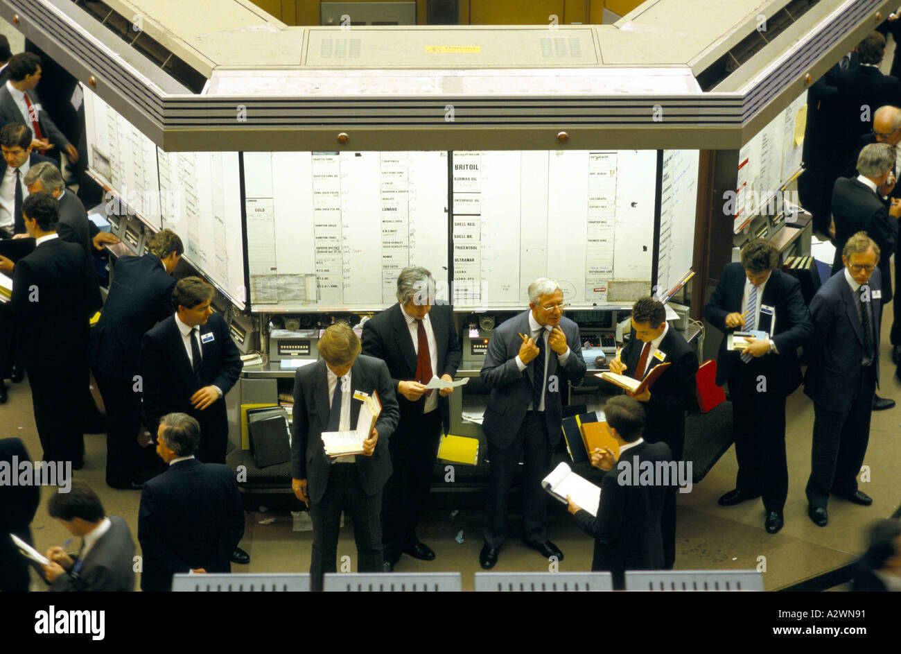 Stockbrokers On The Trading Floor Of The London Stock