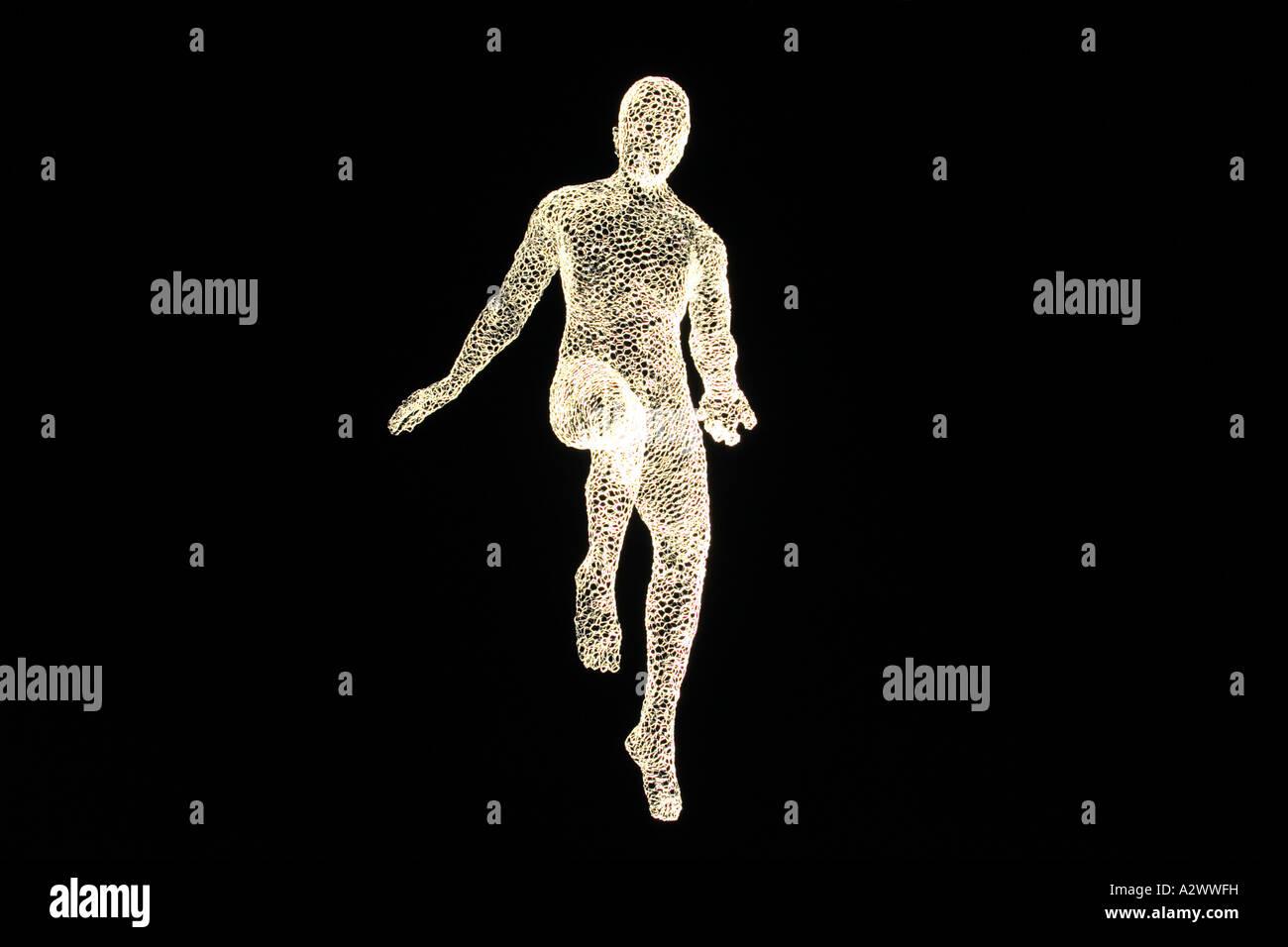 Human-shaped sculpture levitating, Geneva, Switzerland - Stock Image