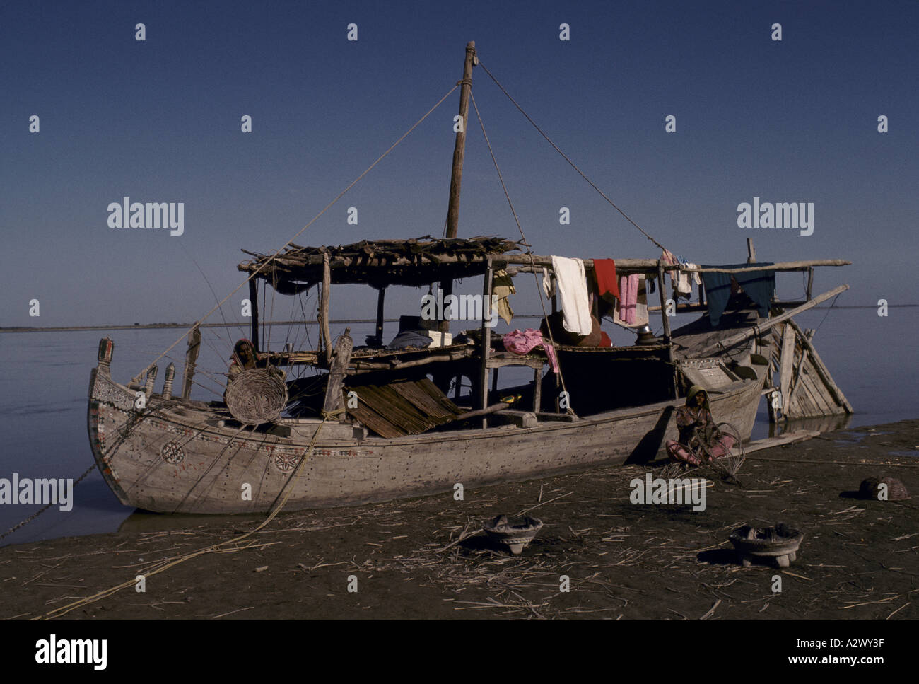 FISHING FAMILIES, RIVER INDUS - Stock Image
