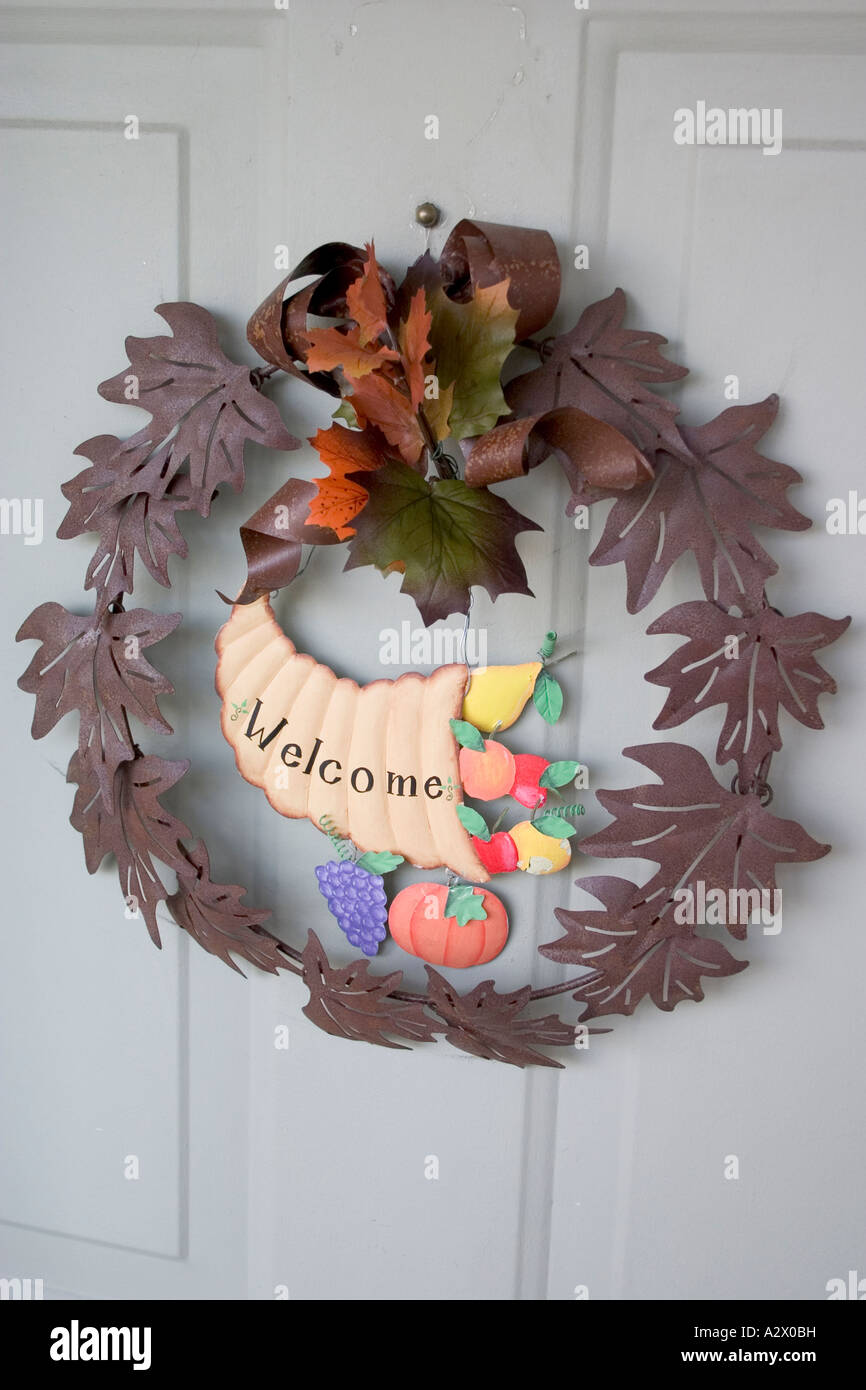 Autumn welcome cornucopia wreath on front door. Plainfield Illinois IL USA - Stock Image