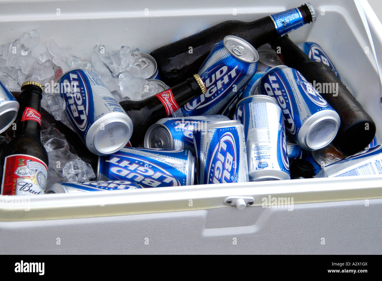 Cans and bottles of beer in an cooler box filled with ice. - Stock Image