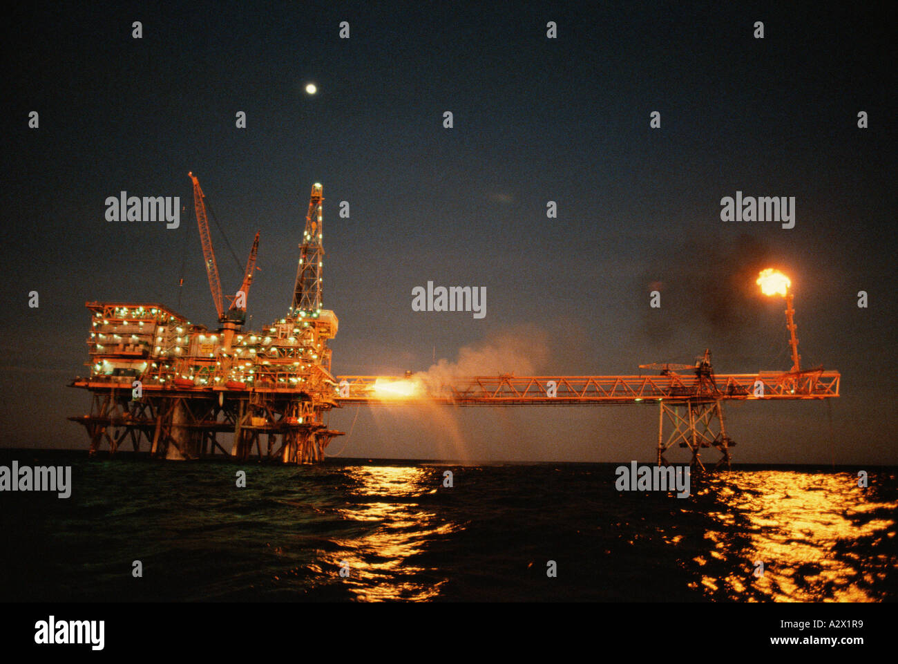 Western Australia. North Rankin A platform offshore gas rig. - Stock Image