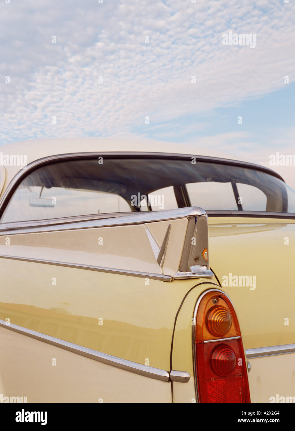 Transport. Road vehicles. Vintage. Classic Car. 1950s. Vauxhall Cresta. British. Close-up of rear wing. - Stock Image