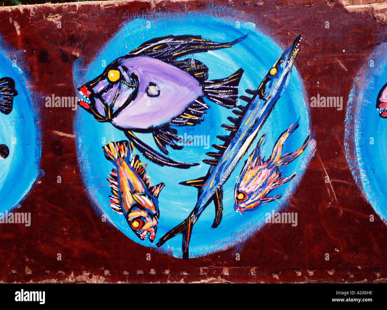Artwork still life food painting of fishes on a plate. - Stock Image